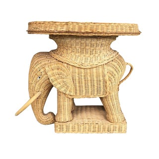 1970s Vintage Boho Figurative Animalia Wicker Rattan Elephant Side Tray Table in the Style of Mario Lopez Torres For Sale