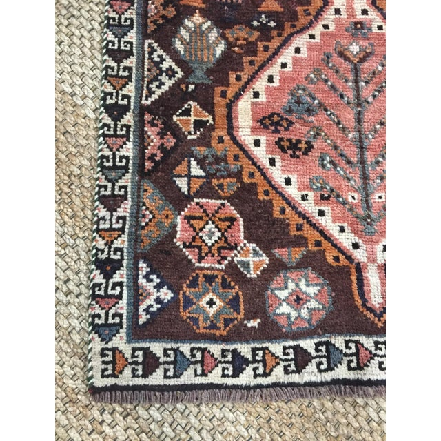 1970s Vintage Shiraz Brown and Rose Pink Rug - 3′8″ × 7′6″ For Sale - Image 4 of 9