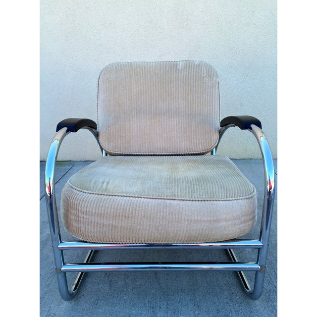 Kem Weber Style Deco Chrome Chair by Royal Metal For Sale - Image 7 of 11