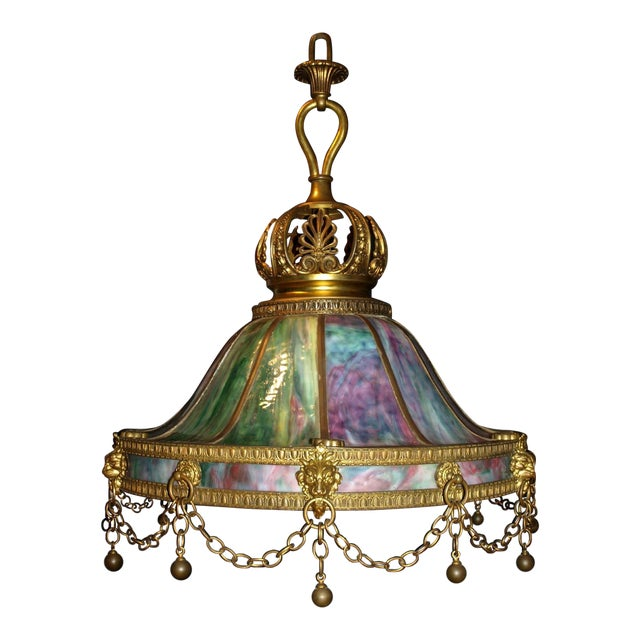 Antique Chandelier. Stained Glass Lamp For Sale