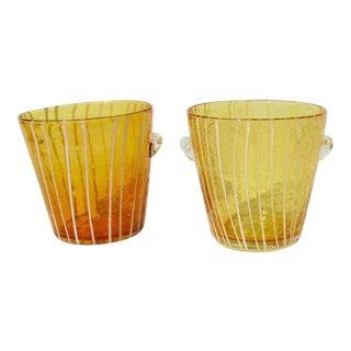 Pair of Vintage Italian Handblown Cachepot Vase - a Pair For Sale