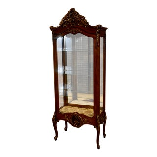1950s Vintage Carved Italian Style Lighted Curio For Sale