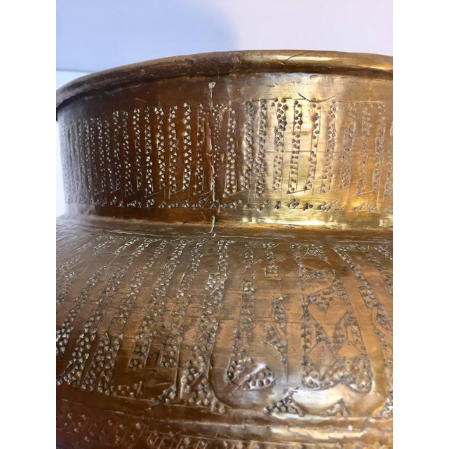 Egyptian Hebraique Revival Hand Etched Brass Pot Jardiniere For Sale - Image 10 of 12