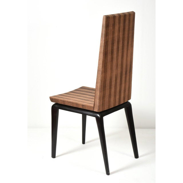 "Ria & Yiouri Augousti Early and rare occasional chair France, 1990's Exotic Wood, Abaca fiber 16 w x 22 d x 43 h in Sh 18""..."