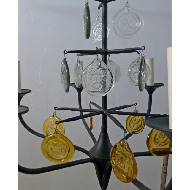 Mid-Century Modern Eric Hoglund 1960s 6 Arm Black Iron and Boda Nova Crystal Chandelier Yellow & Clear Axel Stromberg Ironworks Sweden For Sale - Image 3 of 8