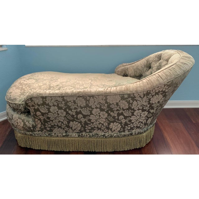 Antique Silk Upholstery Chaise For Sale In Tampa - Image 6 of 12