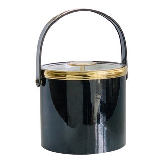 Glossy Black and Gold Georges Briard Ice Bucket For Sale