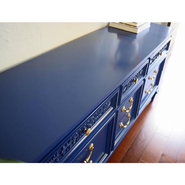 Permacraft Nine Drawer Navy Blue Dresser With Carved Front For Sale - Image 4 of 13
