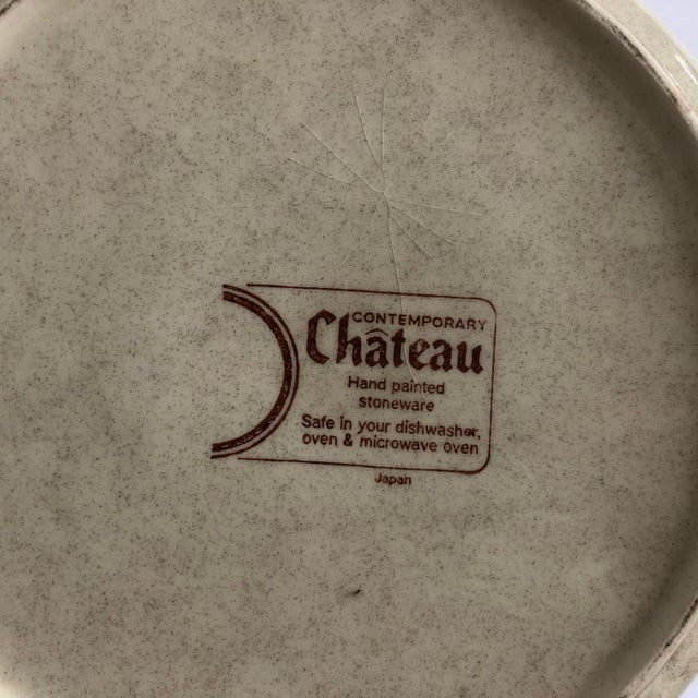 1990s Modern Stoneware Hand Painted Chateau Lidded Bean Bowl For Sale - Image 5 of 6