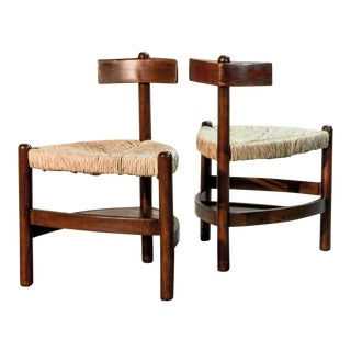 Pair of Mid-Century French Dutch Design Oak Tree and Rush Side Chairs Stools after French Designer Charlotte Perriand for Meribel, 1960s