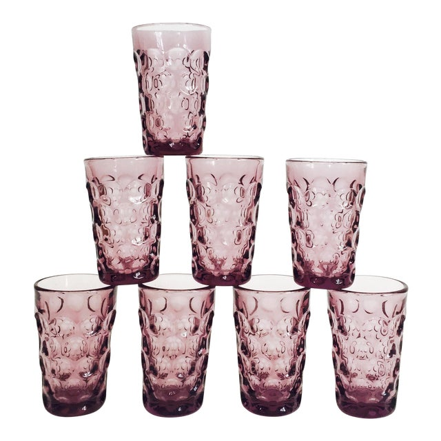 Vintage Purple Juice Glasses - Set of 8 For Sale