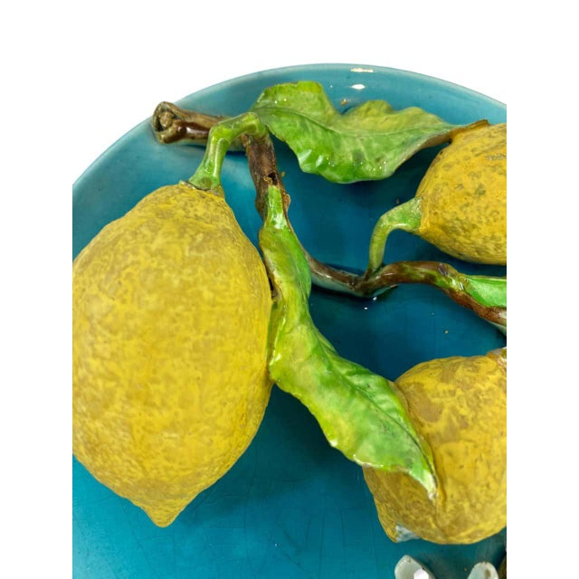 French Menton French Majolica Wall Plaque Turquoise With Lemons by J. Saissi Circa 1880 For Sale - Image 3 of 13