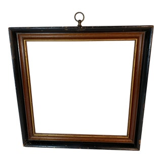 Vintage Americana Wood Picture Frame with Glass, Brass Hanging Knob For Sale