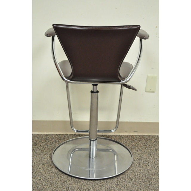Metal Serico Contemporary Italian Modern Brown Leather Chrome Adjust Bar Stool Chair B For Sale - Image 7 of 11