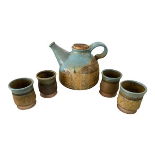 Mid-Century Modern Studio Pottery Teapot & Teacups Seascape Palette - 5 Pc. Set