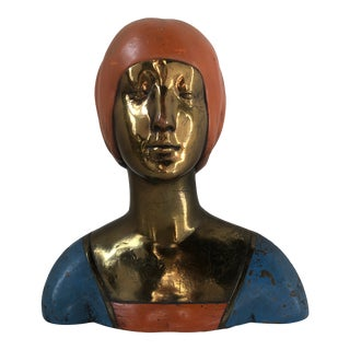Early 20th Century Antique Pompeian Bronze Co. Bust of a Young Woman Sculpture For Sale