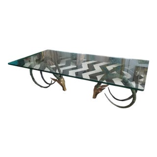 Alain Chervet Bronze and Brass Ibex Coffee Table For Sale