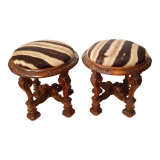 Pair of Zebra Hide Covered Stools For Sale