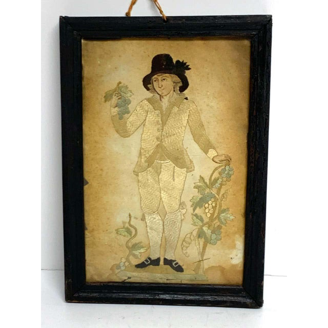 Silk Early 20th Century Framed Two Sided English Silk Embroideries of Regency Twins For Sale - Image 7 of 8