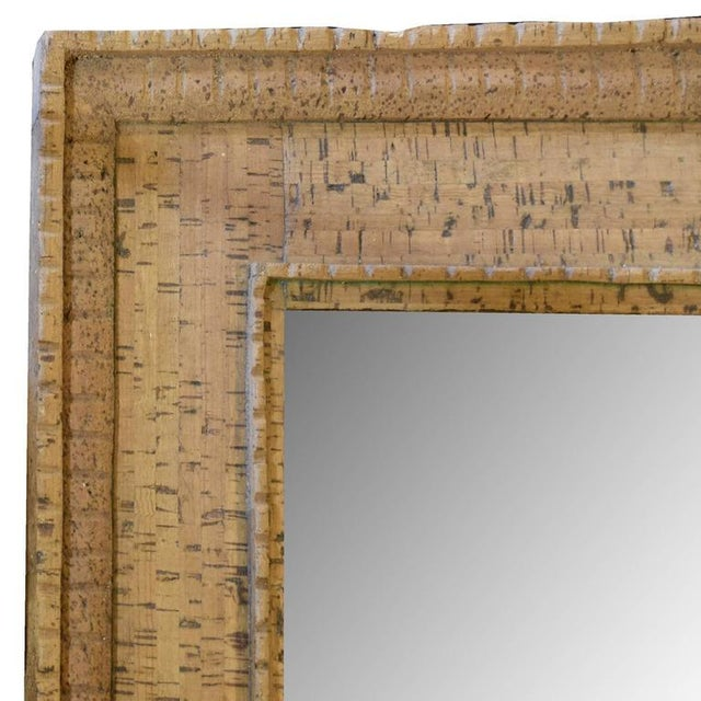 Italian Mid-Century Cork Frame with Mirror - Image 3 of 4