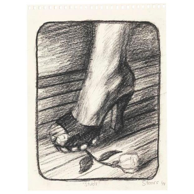 "Hugh Steers ""Studs"" Graphite Drawing - Image 1 of 3"