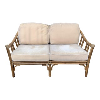 McGuire Rattan Bamboo Loveseat Settee For Sale