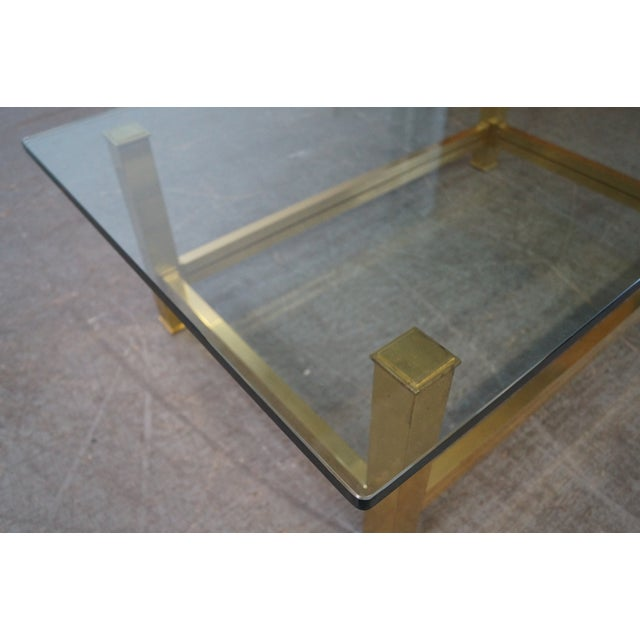 Mastercraft Brushed Brass & Glass Coffee Table For Sale - Image 9 of 10