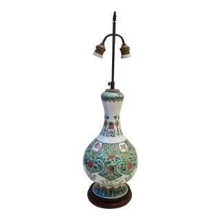 Bronze and Ceramic Chinese Gourd Lamp on Wood Base For Sale