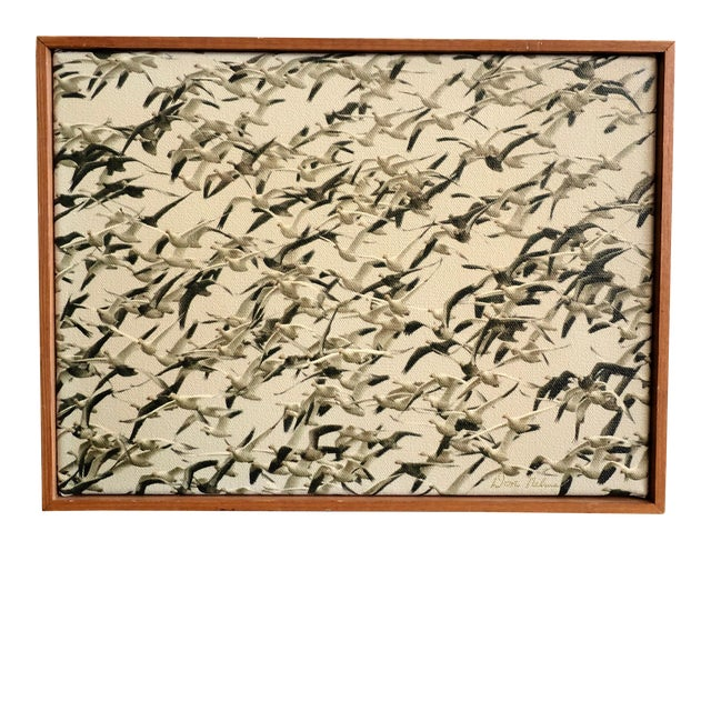 Mid-Century Framed Sepia Photograph of Flying Geese on Canvas For Sale