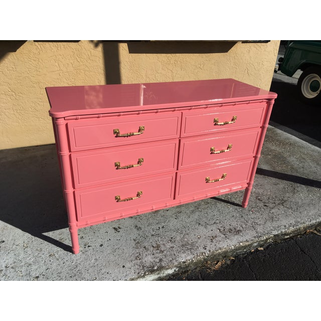 Hollywood Regency Lacquered Pink Faux Bamboo 6 Drawer Lowboy Dresser For Sale - Image 11 of 12