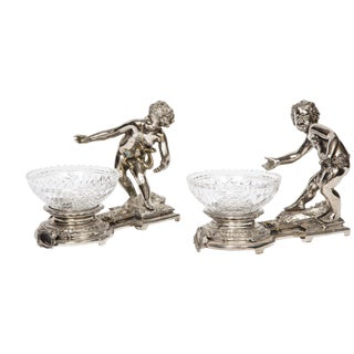 Pair of French Silvered Bronze and Glass Centerpieces With Cherubs For Sale