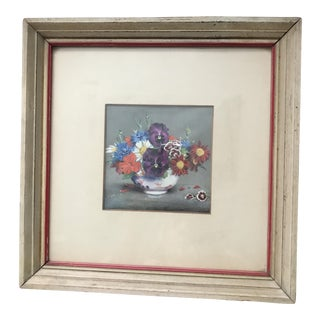Mid-Century Floral Print in Original Frame