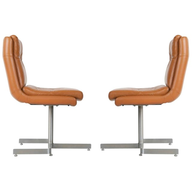 Pair of Leather and Steel Lounge Chairs by Raphael, France, Circa 1970 For Sale - Image 13 of 13