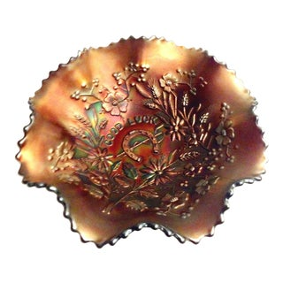 """1930'S American Blown Art Glass """"Good Luck"""" Ruffle Bowl By, Northwood For Sale"""