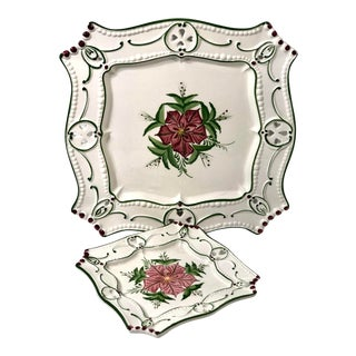Mid 20th Century Vintage Hand Painted Christmas Holiday Poinsettia / Holly Serving Trays - a Pair For Sale
