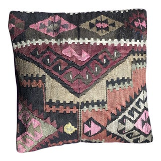 1990s Turkish Kilim Wool Pillow Cover For Sale