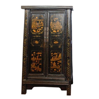 Antique Chinese Black Elm Tapered Cabinet
