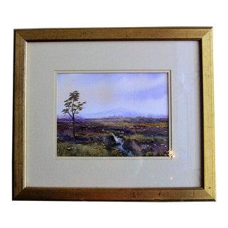 Irish Watercolor by L Burns of Croghan Bog For Sale