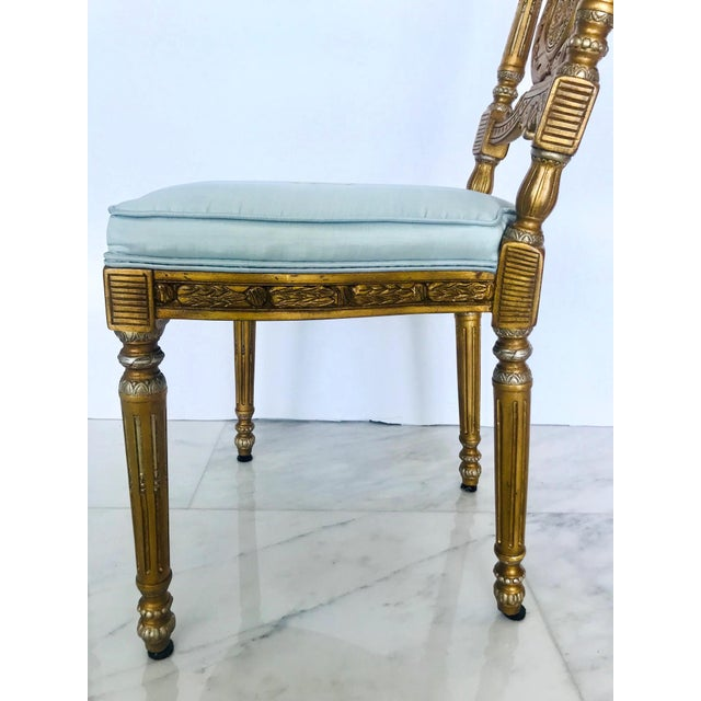 Elegant Belle Epoque Lyre Chair in Antique Gold Leaf, Italy For Sale - Image 10 of 13