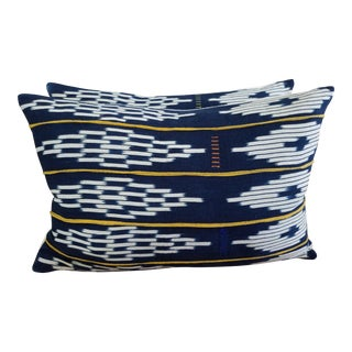 African Mali Mudcloth Dark Indigo Pillows - a Pair