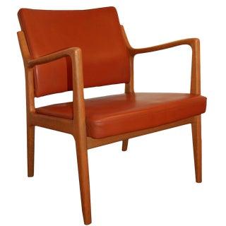 Karl-Erik Ekselius Leather & Teak Arm Chair For Sale