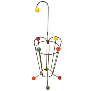 1950s Atomic Age French Mid-Century Iron and Wood Umbrella Stand For Sale