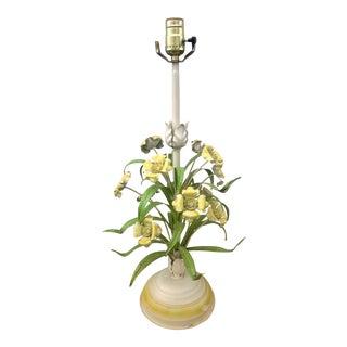 1960s Floral Bouquet Tole Lamp For Sale