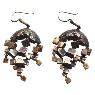 Brutalist Brass Earrings For Sale