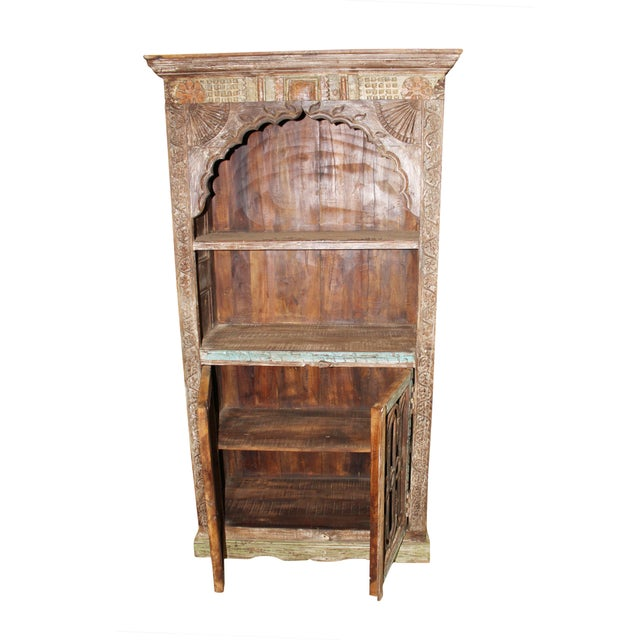 Antique Arch Bookshelf Wooden Rustic Bookcase Indian Handcarved Furniture Your Home Decor IdeaVastu