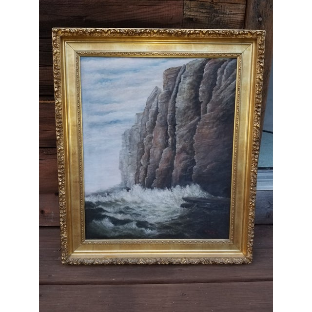 Antique 1903 Seascape Oil Painting Cliff & Waves For Sale - Image 12 of 12