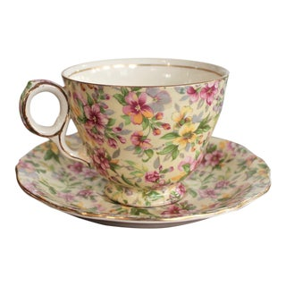 1950s Traditional Royal Winton Estelle Pattern Chintz Teacup & Saucer - 2 Pieces For Sale