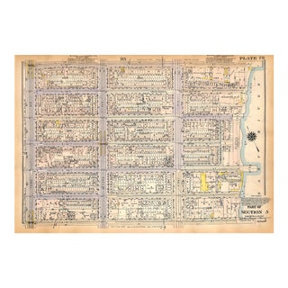 Nyc Map, Manhattan, Turtle Bay, East River, E. 47th - E. 53rd St., West Side, Piers, De Witt Clinton Park, 1927 (Pl. 79-80) For Sale