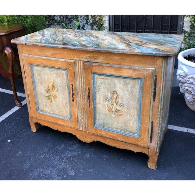 Antique Italian 18th C Tuscan Paint Decorated Sideboard Buffet W Trompe l'Oeil For Sale In Los Angeles - Image 6 of 7