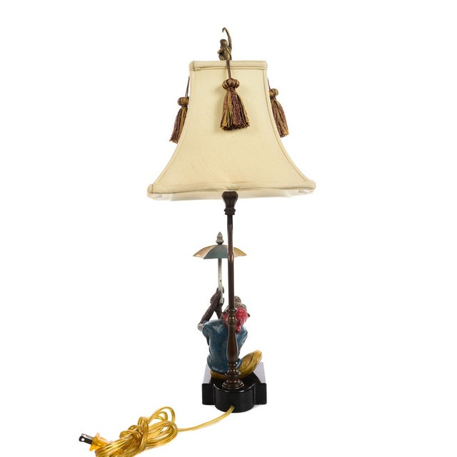 1960s Monkeys Holding an Umbrella -Beautiful Vintage Table Lamps-A Pair For Sale - Image 5 of 10